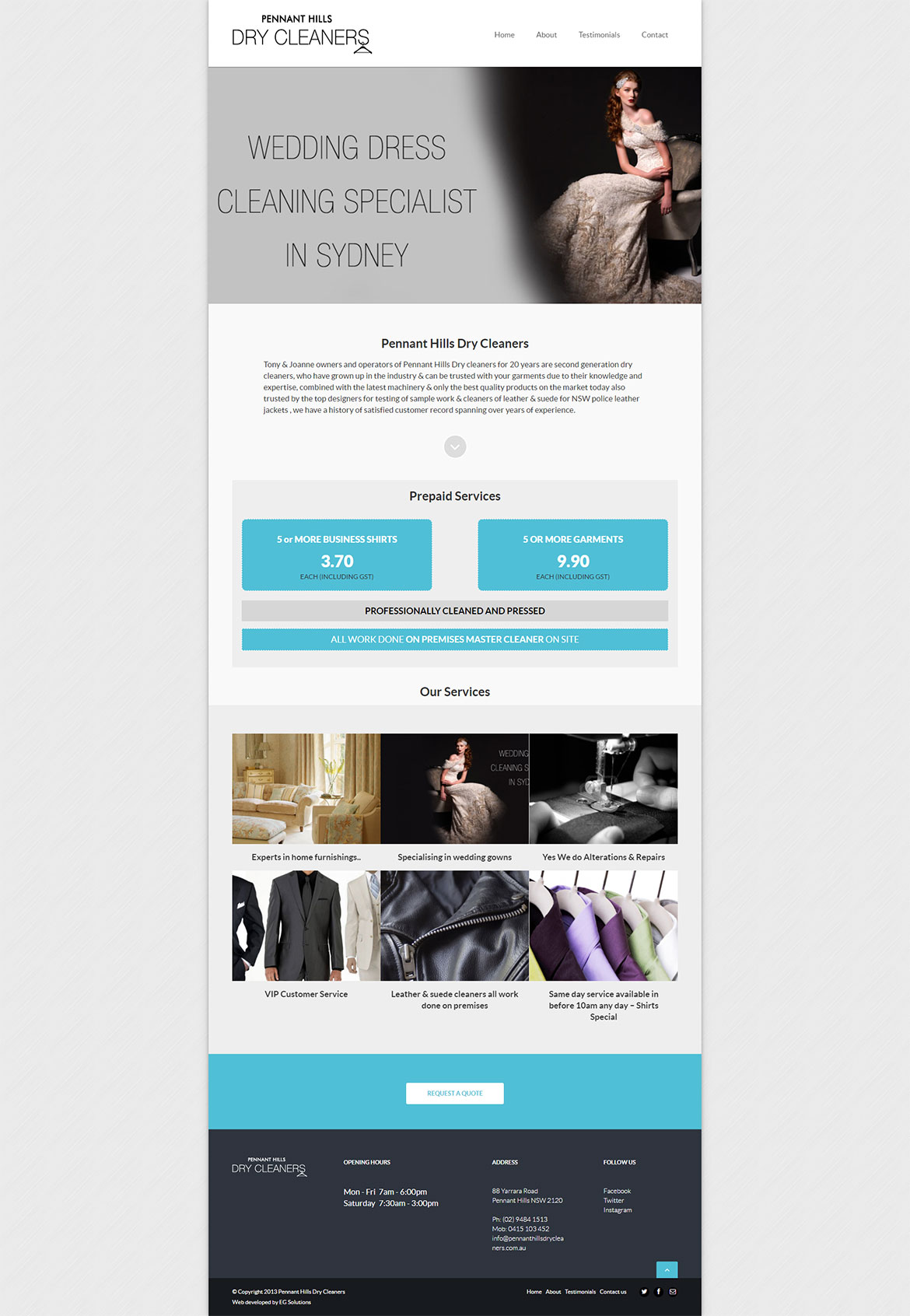 Pennant Hills Dry Cleaners Home page