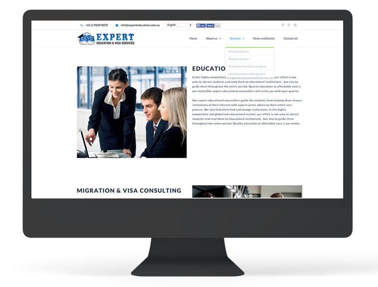 Expert Education Services Page