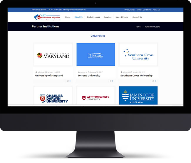 ABC Education Partner Institutions Page