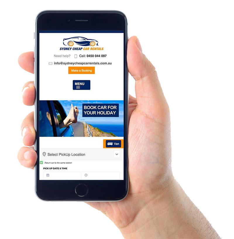 Sydney Cheap Car Rentals Website Mobile Layout