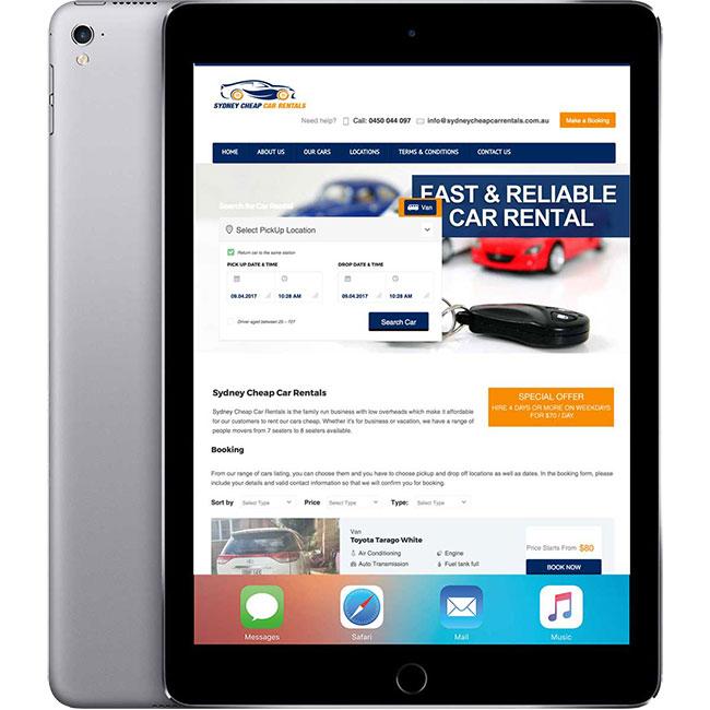 Sydney Cheap Car Rentals Tablet Layout