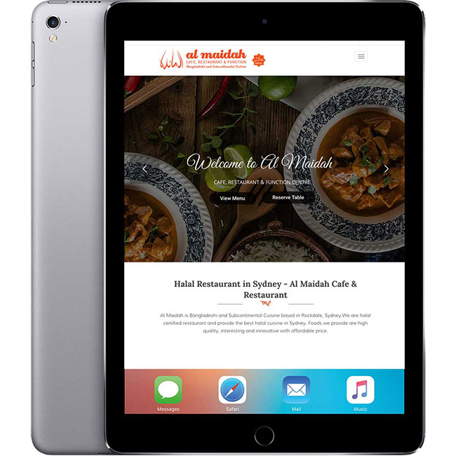 Al Maidah Website on iPad