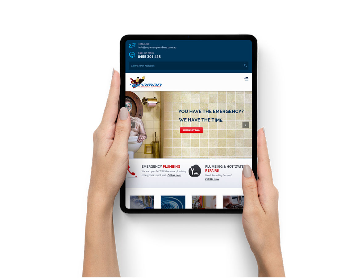 Supaman Plumbing website on iPad