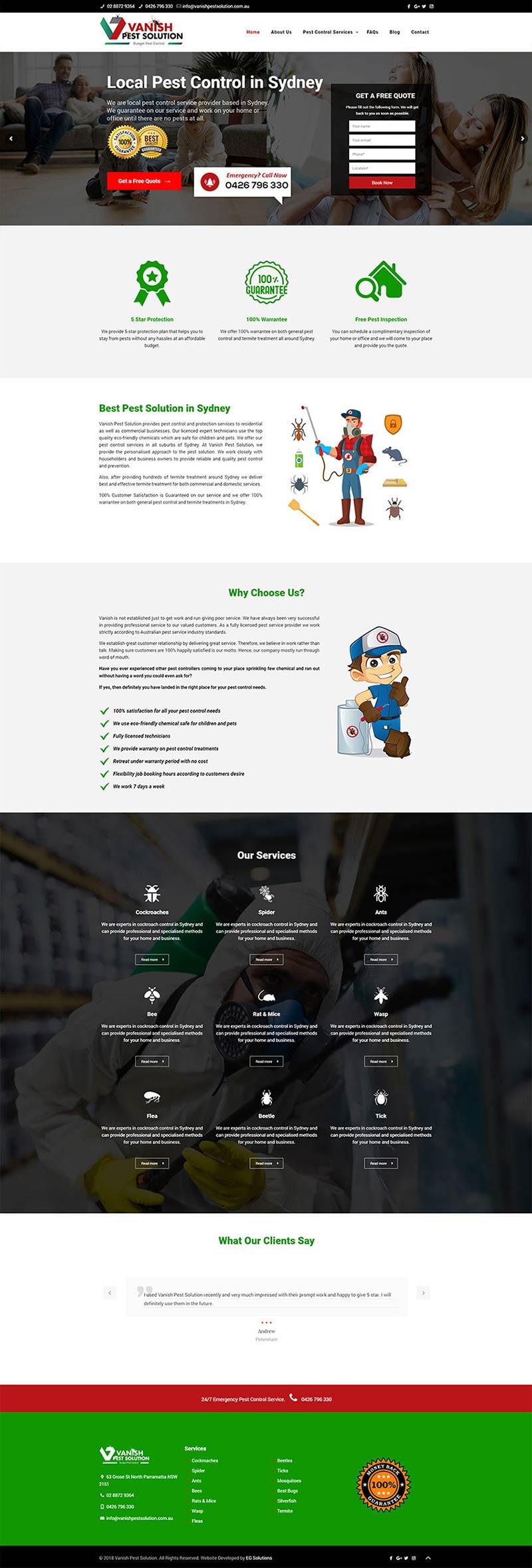 Vanish Pest Solution Homepage Design