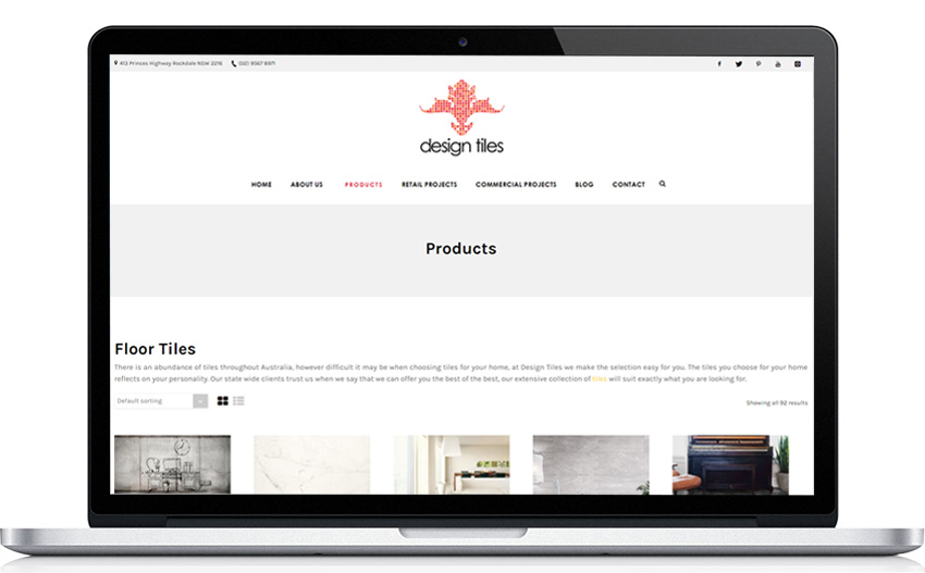 Design Tiles Product Category Page