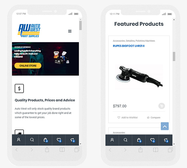 Autowest Website on mobile devices