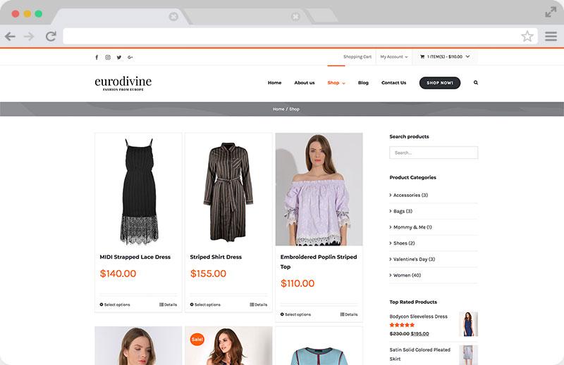 Eurodivine Shop Page