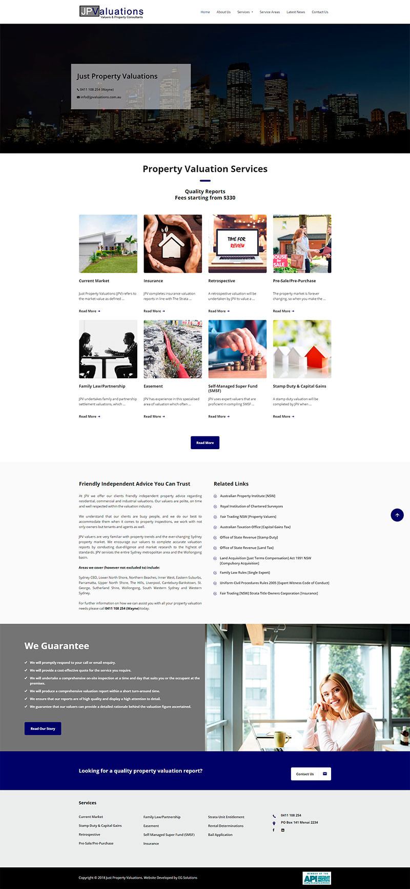 Just Property Valuations Homepage Design