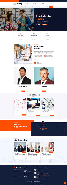 eTraining Website - Homepage