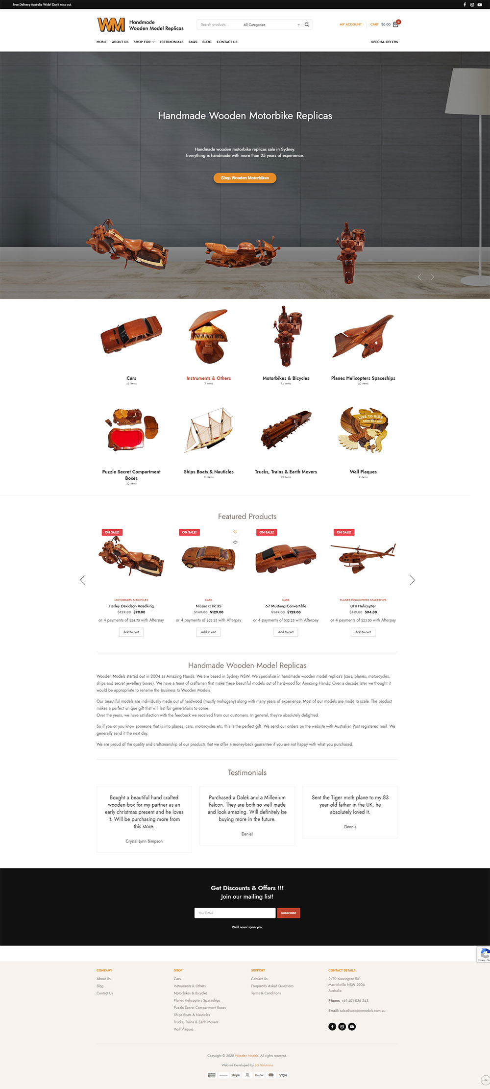 Wooden Models Website Design