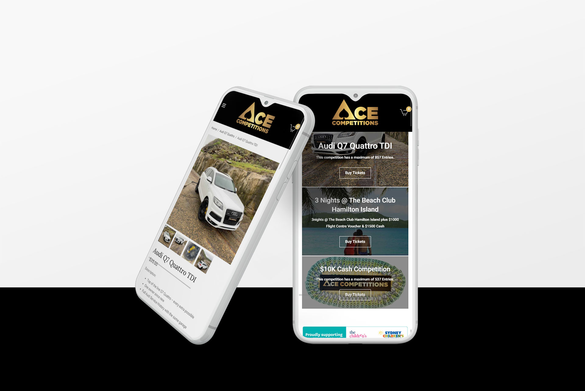Ace Competitions - Mobile Layout